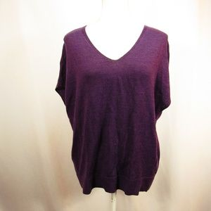 Coldwater Creek Purple V Neck Wool Blend Top M L